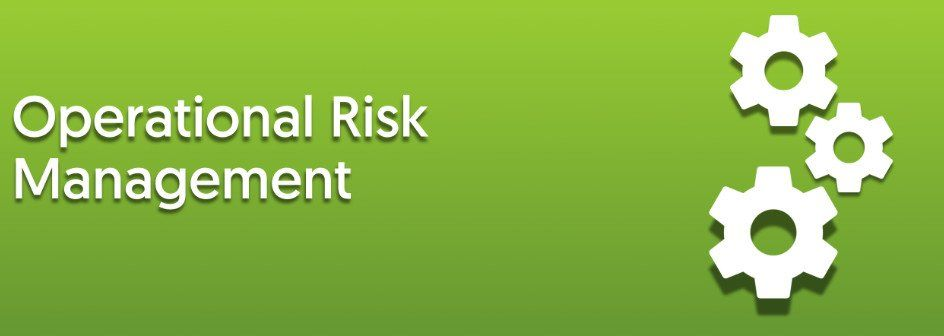 operational risk management with three gear-wheels on green background