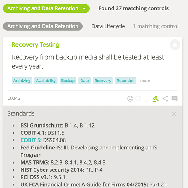 Advanced search by standards (Recovery testing)